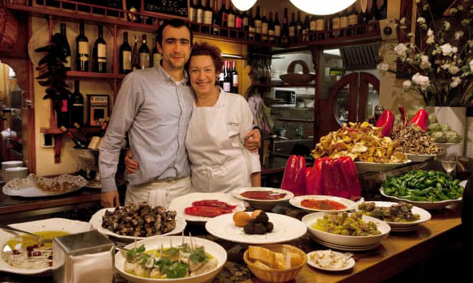 San Sebastian,Spain:Pintxo bar/restaurant Ganbara in the old town Parte Vieja.