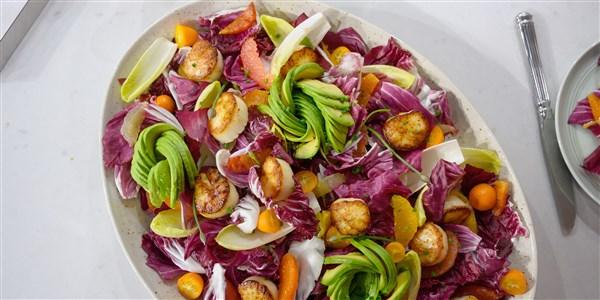 Pan-Seared Scallops, Citrus and Avocado Salad