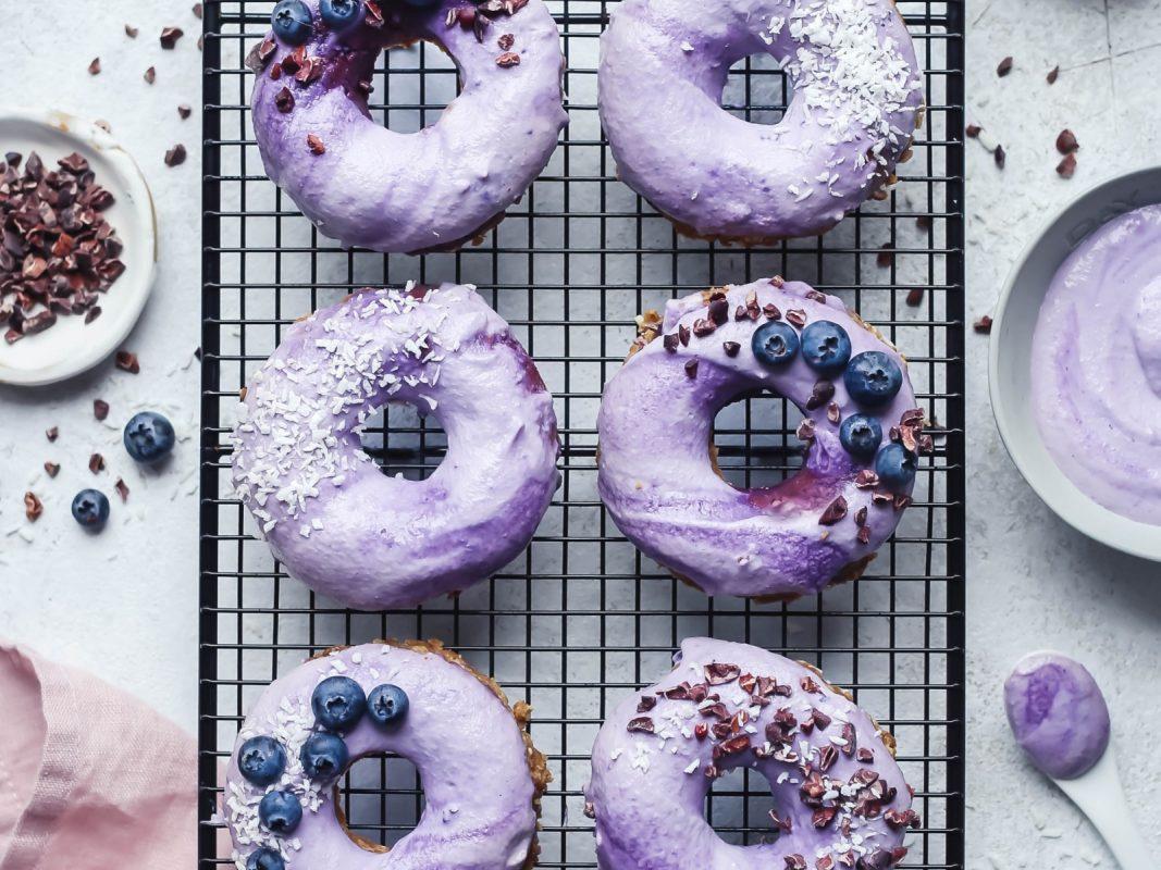 Raw Vanilla Donuts with Blueberry Glaze