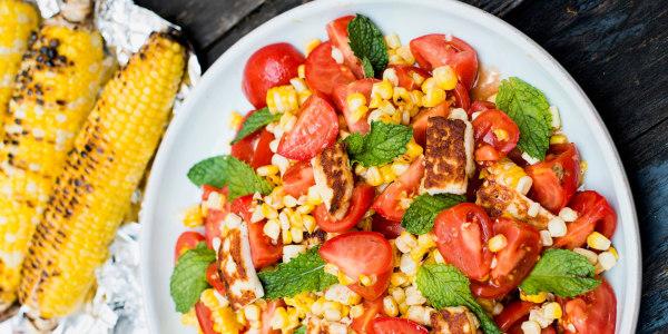 Charred Corn and Halloumi Salad